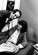 BP Fallon with Jimmy Page at the Swan Song office - London 1981