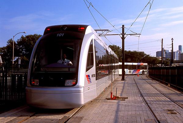 Metro light rail in downtown Houston