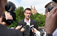 18/06/14  <br /> KELVIN WAY - GLASGOW<br /> Celtic manager Ronny Deila speaks to the press as he attend's the Glasgow Taxi's annual outing to Troon