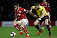Marlon Pack of Bristol City (L) holds off Tom Cleverley of Watford (R). The Emirates FA Cup, 3rd round match, Watford v Bristol City  at Vicarage Road in Watford, London on Saturday 6th January 2018.<br /> pic by Steffan Bowen, Andrew Orchard sports photography.
