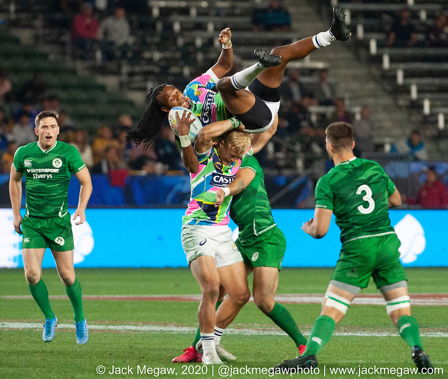 Teams compete in the group stages of the 2020 Los Angeles Sevens at Dignity Sports Health Park in Los Angeles, California. February 29, 2019. <br /> <br /> © Jack Megaw, 2020