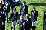 Patrice DELAVEAU (FRA) riding AQUILA HDC (winner) Kent FARRINGTON (USA) riding GAZELLE (2nd), Gudrun PATTEET (BEL) riding SEA COAST JUST THE MUSIC (3rd place) and owner Mr Perron-Pette during the International Show Jumping of La Baule 2018 (Jumping International de la Baule), on May 18, 2018 in La Baule, France - Photo Christophe Bricot / ProSportsImages / DPPI