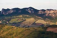 Hills across the valley of the San Marino river, San Marino.