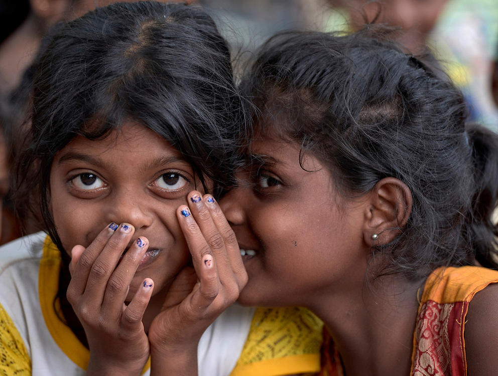 Girls in Parantan, Kilinochchi, Sri Lanka. Their mothers participate in a church-sponsored women's group, many of whose members are widows whose husbands were killed during the country's brutal civil war.