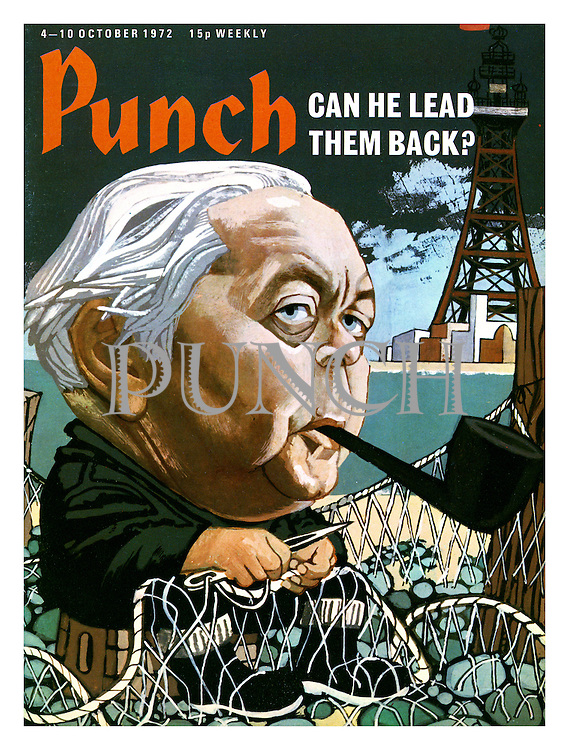 Punch cover 4 October 1972. Can He Lead Them Back? (former Labour Prime Minister Harold Wilson mends a fishing net and smokes a pipe)