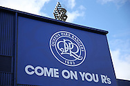the New QPR Crest seen outside Loftus Road before k/o. Skybet EFL championship match, Queens Park Rangers v Leeds United at Loftus Road Stadium in London on Sunday 7th August 2016.<br /> pic by John Patrick Fletcher, Andrew Orchard sports photography.