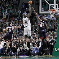 10 May 2012: Boston Celtics power forward Kevin Garnett (5) takes a jumpshot over Atlanta Hawks center Erick Dampier (25) during the Boston Celtics 83-80 victory over the Atlanta Hawks, in Game 6 of the Eastern Conference first-round playoff series, at the TD Banknorth Garden, Boston, Massachusetts, USA.