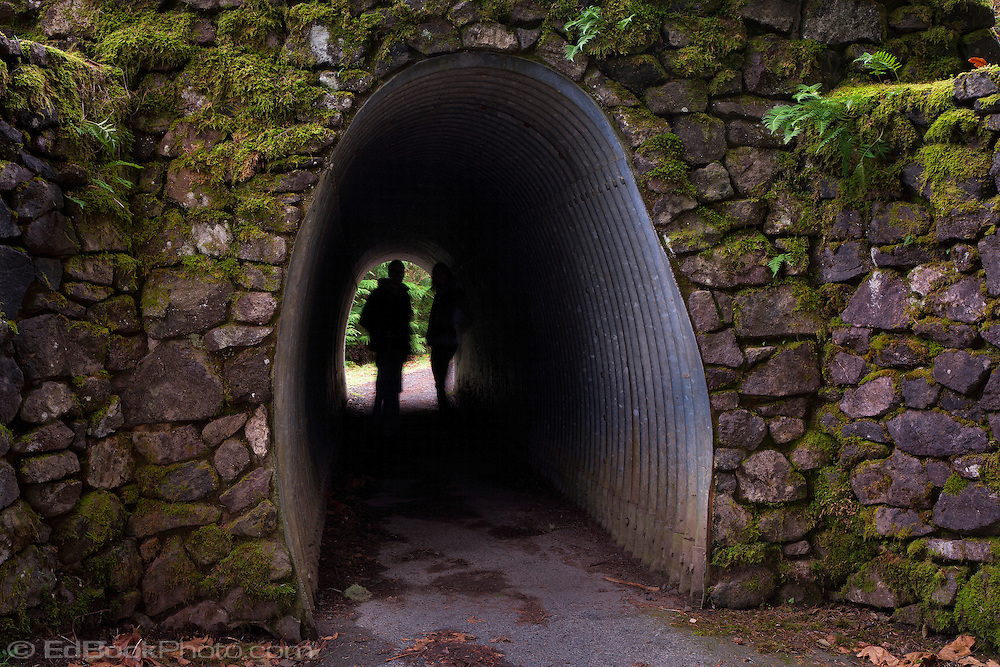 two silhouetted people stand in the light at the end of an oval-shaped tunnel through a thick stone wall or underpass in Olympic National Park in Washington state, USA