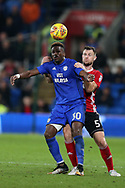 Omar Bogle of Cardiff City (l) is challenged by Tommy Smith of Ipswich Town. EFL Skybet championship match, Cardiff city v Ipswich Town at the Cardiff city stadium in Cardiff, South Wales on Tuesday 31st October 2017.<br /> pic by Andrew Orchard, Andrew Orchard sports photography.