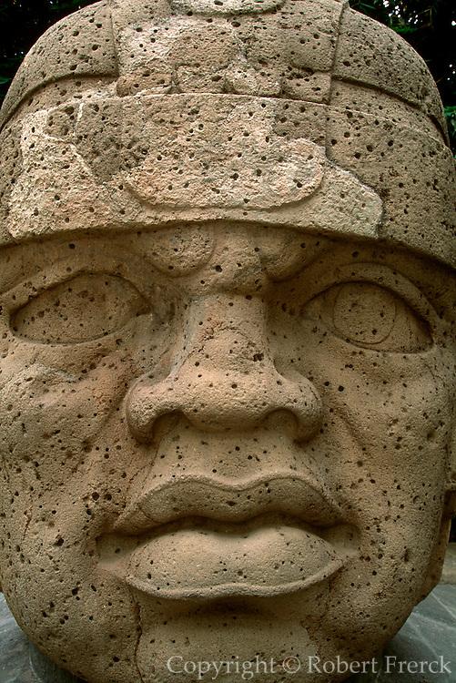 MEXICO, OLMEC CULTURES Jalapa Museum giant stone head