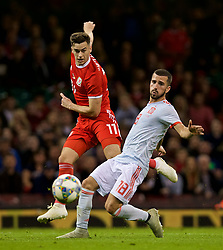CARDIFF, WALES - Thursday, October 11, 2018: Wales' Tom Lawrence shoots during the International Friendly match between Wales and Spain at the Principality Stadium. (Pic by Laura Malkin/Propaganda)