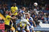 Scott Wharton of Blackburn Rovers tries to get to the cross during the EFL Sky Bet Championship match between Blackburn Rovers and Burton Albion at Ewood Park, Blackburn, England on 20 August 2016. Photo by Simon Brady.