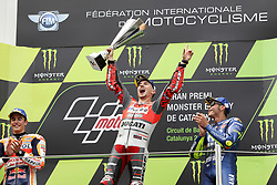 June 17, 2018 - Montmelo, Catalunya, Spain - Jorge LORENZO of Spain and Ducati Team competes celebrates victory on the podium with Marc MARQUEZ of Spain and Repsol Honda Team (L) and Valentino ROSSI of Italy and Movistar Yamaha MotoGp (R) during Gran Premi Monster Energy de Catalunya (Grand Prix of Catalunya), MotoGP race, on June 17, 2018 at the Catalunya racetrack in Montmelo, near Barcelona, Spain (Credit Image: © Manuel Blondeau via ZUMA Wire)