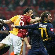 Galatasaray's Servet CETIN (C) during their Turkish Super League soccer match Galatasaray between Bucaspor at the Turk Telekom Arena at Seyrantepe in Istanbul Turkey on Saturday 19 February 2011. Photo by TURKPIX
