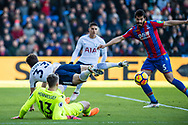 (33) Ben Davies of Tottenham Hotspur, Crystal Palace #13 Wayne Hennessey, Crystal Palace #5 James Tomkins during the Premier League match between Crystal Palace and Tottenham Hotspur at Selhurst Park, London, England on 25 February 2018. Picture by Sebastian Frej.