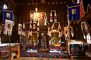 Interior of the Greco Catholic Wooden Church of Adormirea Maiccii Domnului, Maramures, Northern Transylvania, Romania, UNESCO World Heritage Site .<br /> <br /> Visit our ROMANIA HISTORIC PLACXES PHOTO COLLECTIONS for more photos to download or buy as wall art prints https://funkystock.photoshelter.com/gallery-collection/Pictures-Images-of-Romania-Photos-of-Romanian-Historic-Landmark-Sites/C00001TITiQwAdS8<br /> .<br /> Visit our MEDIEVAL PHOTO COLLECTIONS for more   photos  to download or buy as prints https://funkystock.photoshelter.com/gallery-collection/Medieval-Middle-Ages-Historic-Places-Arcaeological-Sites-Pictures-Images-of/C0000B5ZA54_WD0s