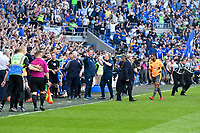 Football - 2017 / 2018 Sky Bet Championship - Cardiff City vs. Reading<br /> <br /> Cardiff City manager Neil Warnock celebrates promotion as Cardiff fans invade the pitch, at Cardiff City Stadium.<br /> <br /> COLORSPORT/WINSTON BYNORTH