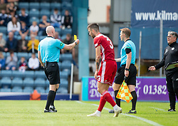 Ref Alan Newlands books Ayr United's manager Ian McCall. Dundee 1 v 0 Ayr United, Scottish Championship game played 10/8/2019.