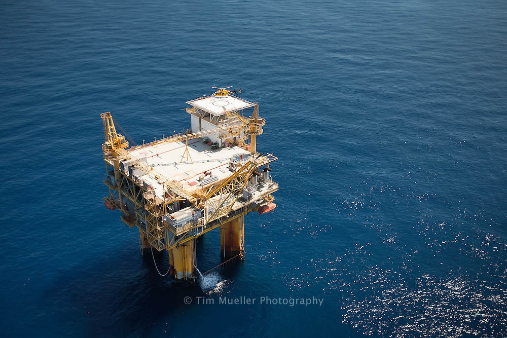 """Pisces Energy, LLC owns several leases in the Gulf of Mexico and one of their leases is the deep water Ewing Bank 958/1003 """"Prince"""" field. The tension leg platform is set in 1500' of water."""