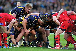 Nick Schonert of Worcester Warriors prepares to scrummage against his opposite number - Photo mandatory by-line: Patrick Khachfe/JMP - Mobile: 07966 386802 27/05/2015 - SPORT - RUGBY UNION - Worcester - Sixways Stadium - Worcester Warriors v Bristol Rugby - Greene King IPA Championship Play-off Final (Second leg)