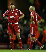 Photo: Paul Thomas.<br /> Liverpool v Arsenal. The FA Barclays Premiership. 28/10/2007.<br /> <br /> Dejected Steven Gerrard of Liverpool.