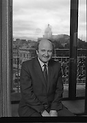 Mr Desmond Barry (TD).Minister for Health .1983.07.09.1983.09.07.1983.7th September 1983..Portrait of.Mr Barry Desmond, Minister for Health..Mr Desmond part of the Fine Gael/Labour Coalition.was appointed Minister by Taioseach Garret Fitzgerald..The coalition came to power in December 1982. Labour was led by Tanaiste, Mr Dick Spring..The photograph was taken in offices within The Custom House, Dublin