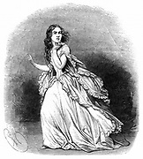 Jenny Lind (1820-87) soprano known as the 'Swedish Nightingale', 1848. Lind in the title role of Donizetti's opera 'Lucia di Lammermoor' based on the novel 'The Bride of Lammermoor' by Walter Scott. This is the final scene where Lucia goes mad: Her Majesty's Theatre, London, 1848. The premier was at Naples in 1835, and the first London performance was in 1838. From 'The Illustrated London News'. (London, 1848).   Wood engraving.
