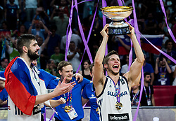 Aleksej Nikolic of Slovenia celebrating at Trophy ceremony after winning during the Final basketball match between National Teams  Slovenia and Serbia at Day 18 of the FIBA EuroBasket 2017 when Slovenia became European Champions 2017, at Sinan Erdem Dome in Istanbul, Turkey on September 17, 2017. Photo by Vid Ponikvar / Sportida