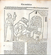 Physician examining a sample of urine from the patient lying in bed. From 'Livre de la propriete des choses' (On the Properties of Things) written by the English Franciscan monk Partholomew Glanvilled called Bartolomaeus Anglicus c1230-1240, and translated by Jean Corbechon in 1372. Woodcut from printed editionpublished 1491.