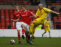 Photo: Steve Bond/Richard Lane Photography. <br />Nottingham Forest v Walsall. Coca Cola League One. 15/03/2008. Tommy Mooney (R) gets a shot through despite the attention of Kelvin Wilson (C)