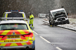 Birkhill, Scotland, UK. 2 February 2021. Police accident investigation officers attend scene of serious multiple vehicle traffic accident on A68 at Birkhill north of Earlston in Scottish Borders.  The A68. Remains closed in both directions at Lauder and Earlston. Iain Masterton/Alamy Live News