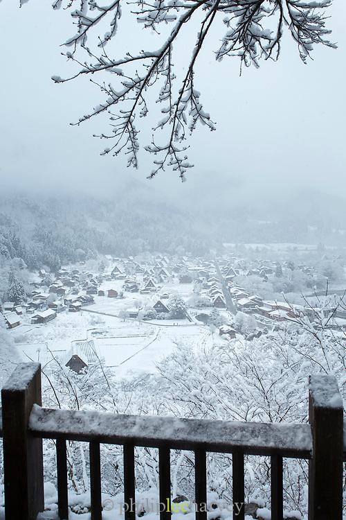 Shirakawa-go village in snow in Japan