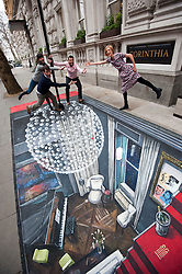 Cast of the Leisure Society at the Corinthia Hotel in London on 3D Art created by artist Joe Hill. the Leisure Society opens at Trafalgar Studio 2 on Tuesday 28th Feb. Supermodel Agyness Deyn with John Schwab, Melanie Gray and Ed Stoppard, Monday Febraury 27, 2012. Photo By i-Images