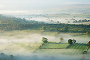 Morning mist isolates a square field in the Upper Dove Valley. Captured from High Wheeldon, Peak District. An atmospheric landscape scene in Derbyshire, England, UK.
