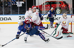 Damien Fleury of France and Oleg Yevenko of Belarus during the 2017 IIHF Men's World Championship group B Ice hockey match between National Teams of France and Belarus, on May 12, 2017 in AccorHotels Arena in Paris, France. Photo by Vid Ponikvar / Sportida