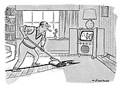 (Man cleans the carpet whilst watching the cricket on television and rubs a hole in it)