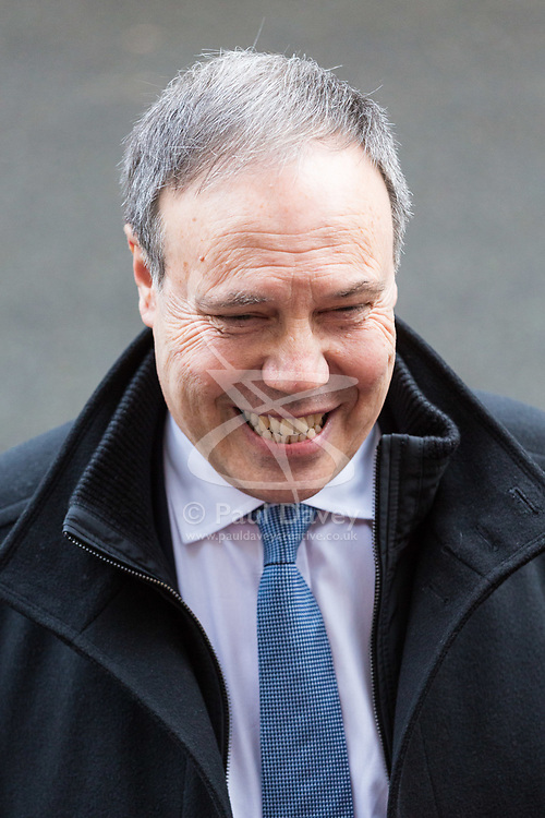 London, November 21 2017. Deputy leader of the DUP Nigel Dodds speaks to the media after leaders of Northern Ireland's two main political parties the DUP and Sinn Fein met separately with British Prime Minister Theresa May at Downing Street. © Paul Davey