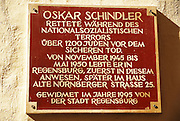 Memorial inscription for Oskar Schindler on his house at Watmarkt, Regensburg, Upper Palatinate, Bavaria, Germany