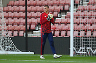 Manchester United Sam Johnstone in warm up during the Barclays U21 Premier League match between U21 Southampton and U21 Manchester United at the St Mary's Stadium, Southampton, England on 25 April 2016. Photo by Phil Duncan.