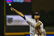 Durham Bulls pitcher Aaron Slegers (38) delivers a pitch during the MiLB International Championship baseball game against the Columbus Clippers, Thursday, September 12, 2019, in Durham, N.C. The Clippers beat the Bulls 6-2 to complete a three-game sweep of the two-time defending champion. (Brian Villanueva/Image of Sport)