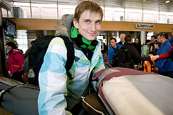 Slovenian ski jumper Mitja Meznar at arrival to Airport Joze Pucnik from Vancouver after Winter Olympic games 2010, on February 24, 2010 in Brnik, Slovenia. (Photo by Vid Ponikvar / Sportida)