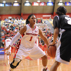 Feb 21, 2009; Piscataway, NJ, USA; Rutgers guard Khadijah Rushdan (1) pressures Providence guard Trinity Hull (2) during the second half of Rutgers' 55-42 victory over Providence at the Louis Brown Athletic Center.
