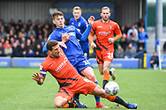 Wycombe Wanderers Defender Adam El-Abd (6) and AFC Wimbledon Defender Steve Seddon (15) battle for the ball during the EFL Sky Bet League 1 match between AFC Wimbledon and Wycombe Wanderers at the Cherry Red Records Stadium, Kingston, England on 27 April 2019.