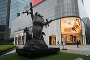 Salvador Dali's 'Nobility of Time' sculpture in bronze near shopping centre, Jinan Temple area, Shanghai