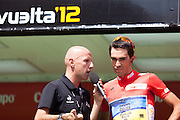 Alberto Contador during the signature control at the last step of the Vuelta de EspaÒa 2012