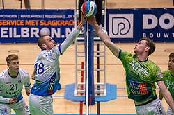 Dennis Borst of Lycurgus, Jannes van der Ham of Orion in action during the league match between Active Living Orion vs. Amysoft Lycurgus on March 20, 2021 in Doetinchem.
