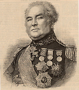 Lieutenant General George Brown (1790-1865), British soldier.  Fought in the Peninsular campaign in the Napoleonic Wars.   In the Crimean (Russo-Turkish) War 1853-1856. Commanded the Light Division at the Battle of Alma, 20 September 1854, when his horse was killed under him.  A bully and an over strict disciplinarian, it was said 'the old wretch is more hated than any man ever was'.  From 'The Illustrated London News' (London, 1865). Engraving.