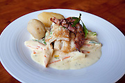 Dry cod, stockfish, served at the prize winning restaurant Bios Café in Nordreisa, Northern Norway.