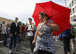 June 18, 2017 - Kiev, Ukraine - About 2 thousand representatives of LGBT community of Ukraine and its supporters guarded by thousand of policemen walk with KyivPride March of equality downtown Kyiv, Ukraine, June 18, 2017. (Credit Image: © Sergii Kharchenko/NurPhoto via ZUMA Press)