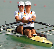 28/08/2003 Thursday.2003 World Rowing Championships, Idroscala. Milan, Italy.Semi finals, lightweight women's double sculls, Germany's, Marie-Louise Draeger [left]and Claudia Blasberg, at the start of their semi final ... Milan. ITALY 2003 World Rowing Championships. Idro Scala Rowing Course. [Mandatory Credit: Peter Spurrier: Intersport Images.]